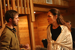 Photo of Horton directs actress Beth Grant.