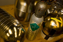 Photo of collection cylinders used to collect air samples