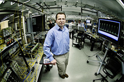 Photo of Professor Stojan Radic in the 2,000-square-foot Photonics Systems Lab in Atkinson Hall