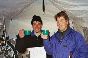 Photo of Geoscientists Vas Petrenko (left) and Jeff Severinghaus