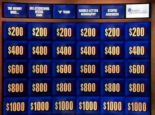 "... marquee billing on July 24 as a category on the game show ""Jeopardy"