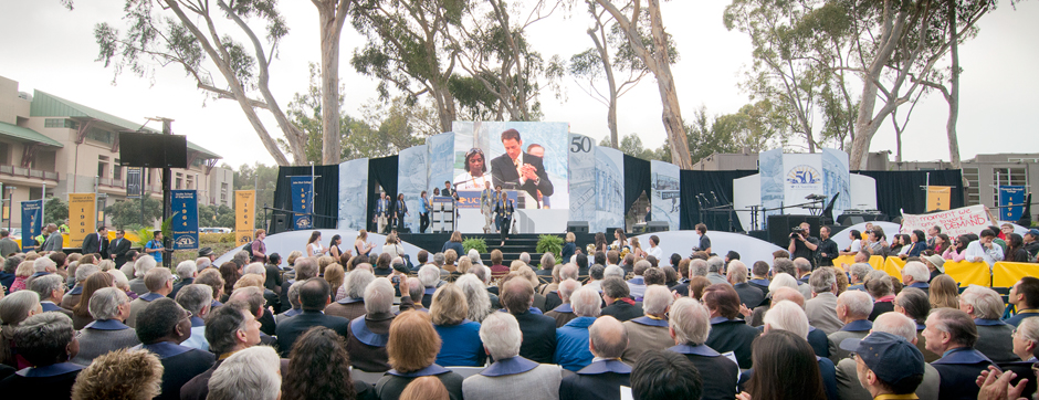 A crowd of more than 1,400 turned out for Founders' Day on the UC San Diego campus Thursday. The celebration included a procession by founding faculty and staff, as well as members of the campus' first graduating class. <br/> <em>Photos by Erik Jepsen</em>