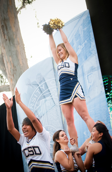 The UCSD cheerleaders threw their best stunts during the ceremony.