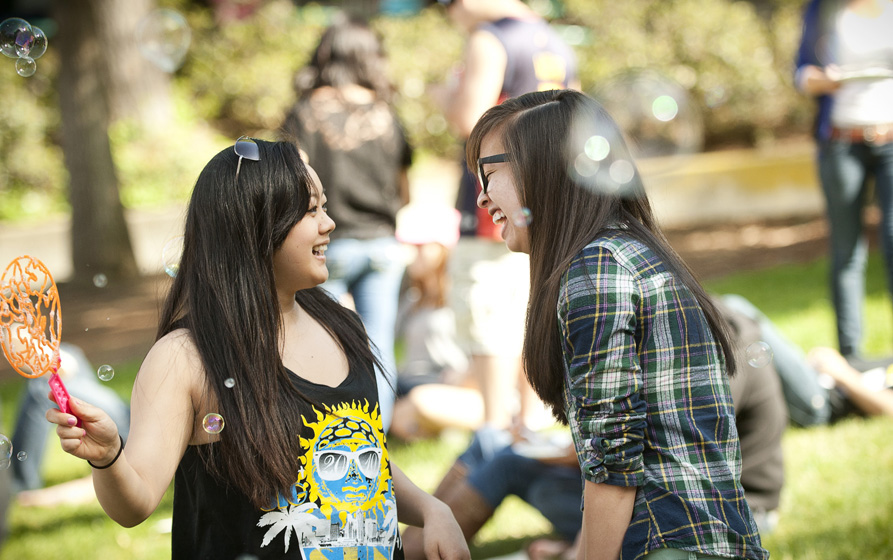 Students blow bubbles during Muirstock, Muir College's green festival, which took place Friday, closing Earth Week.