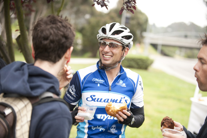 Students, faculty and staff enjoyed a free breakfast for cyclists.