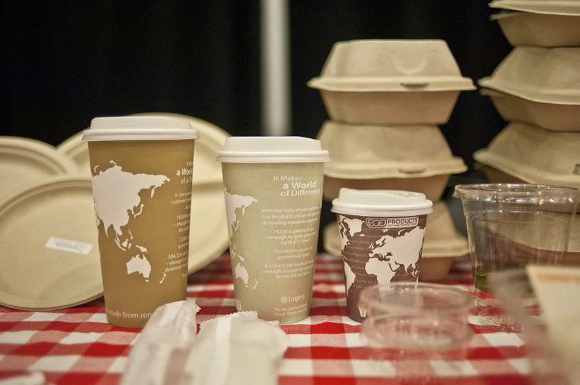 A display of biodegradable and compostable containers at the Fair Trade Expo.