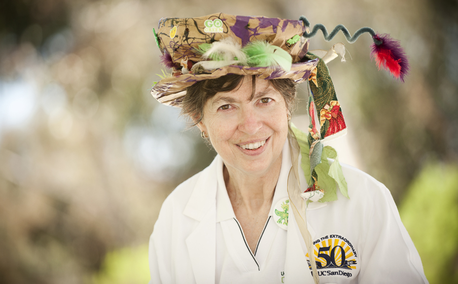 Chancellor Marye Anne Fox wears a hat made at the Rad Hatter booth in the children's zone at Green Open House.
