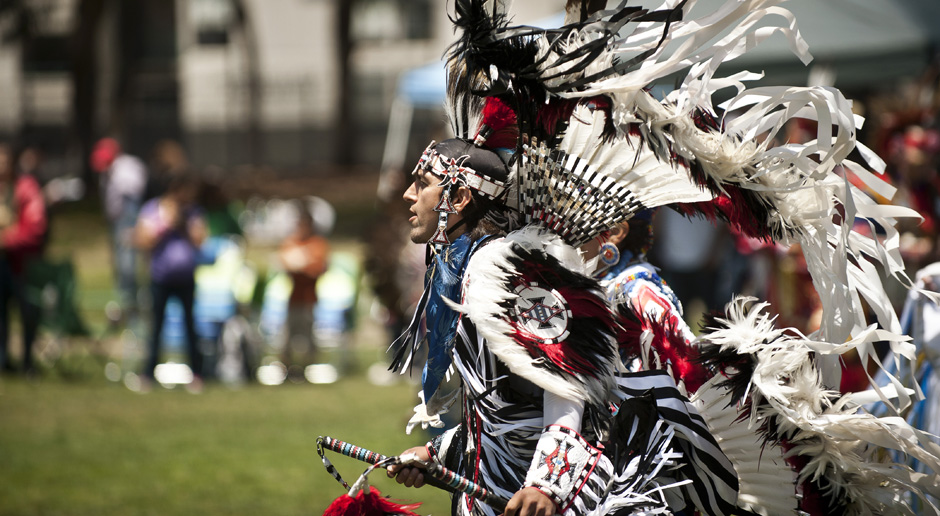 Head Male Dancer, Skye McMichael from the La Jolla Indian Reservation lines up for the Grand Entry.