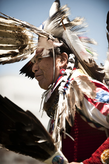 The sights and sounds of American Indian culture were evident in the colorful headdresses and regalia, powwow dancing, bird singing and gourd dancing featured at UC San Diego's powwow.