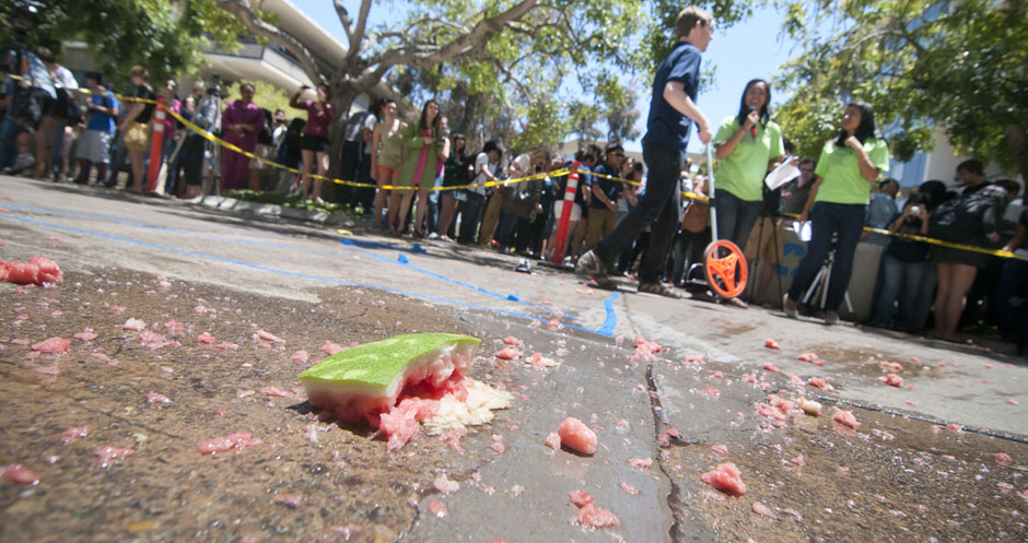 The remains of the watermelon lay on the sidewalk in front of Urey Hall. This year's farthest piece of watermelon landed 60 feet, 2 inches.