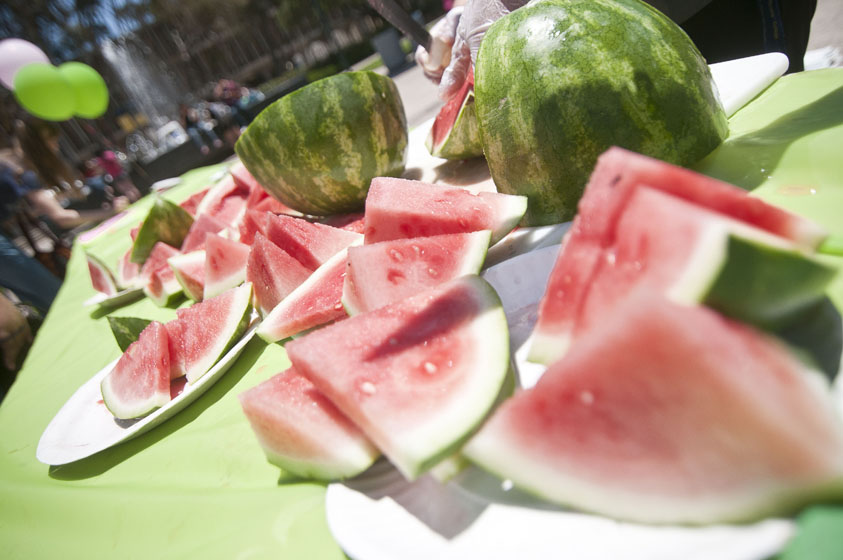 Free watermelon was passed out to all in attendance.