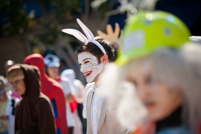 UC San Diego student John Condello dresses as the White Rabbit from Alice in Wonder Land.