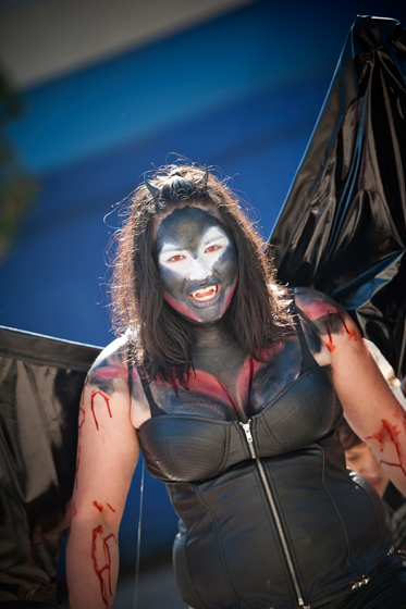 A student dresses as a vampire demon for the scariest category at the costume contest.