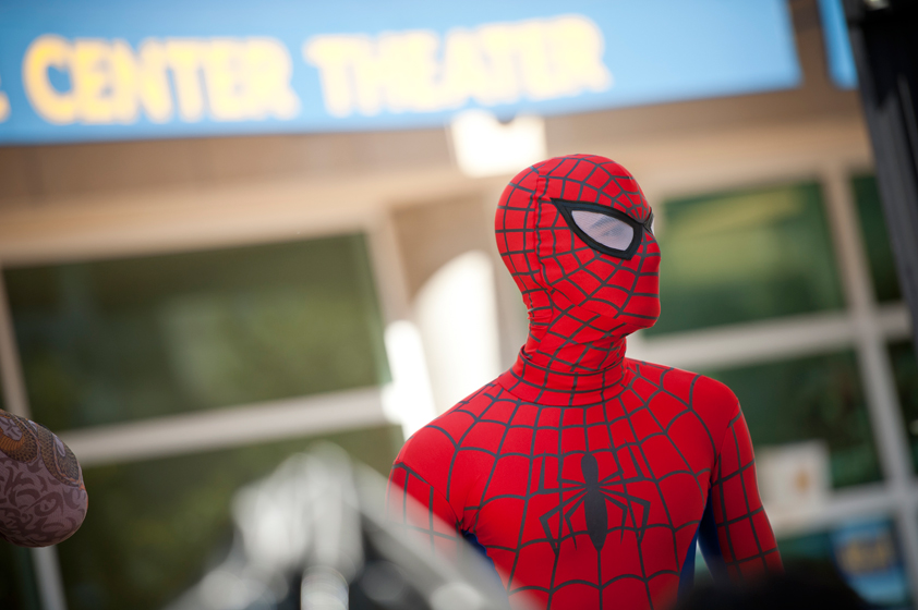 Student dresses as Spiderman.