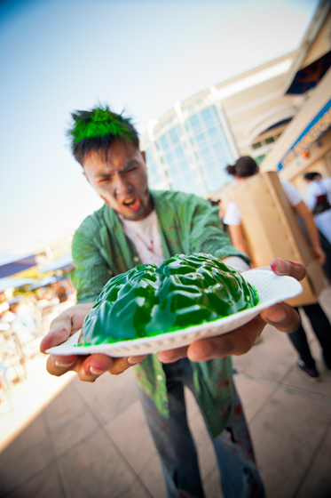 A student zombie displays his brains at the annual Halloween Costume Contest sponsored by the UC San Diego Bookstore.