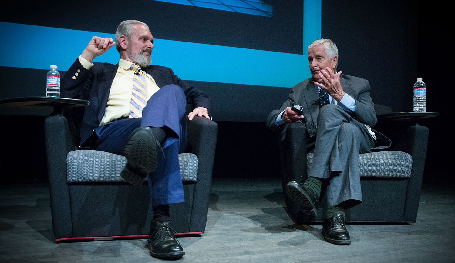 "At the Clarke Center's 2014 screening of ""2001: A Space Odyssey,"" actor Keir Dullea (left) and the film's science advisor Fred Ordway III (right) discuss their roles in the film. Photo courtesy of the Clarke Center."