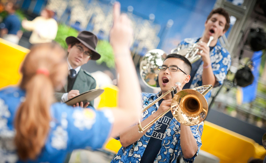 The UC San Diego Pepband performs during the Founders' Day celebration.