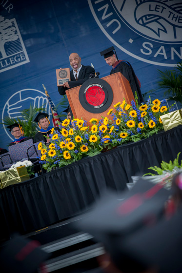 Some 1,400 graduates and more than 11,000 guests assembled to hear the commencement speech from UC San Diego alumnus and actor James Avery at Thurgood Marshall's graduation.