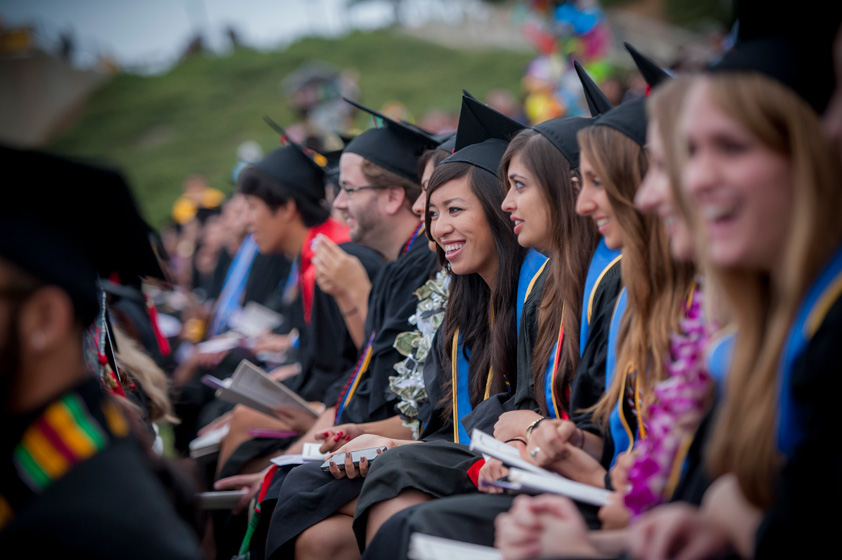 Students listen to the commencement speech by actor James Avery at the Marshall Commencement Ceremony.