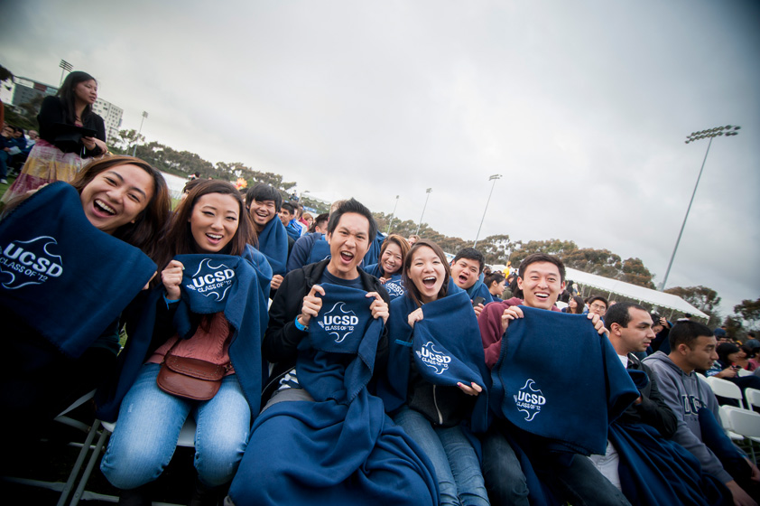 UCSD blankets were handed out to All Campus Graduation Celebration attendees.