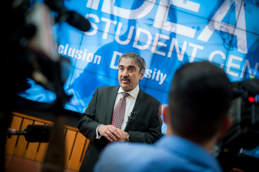 Chancellor Khosla participates in a media question and answer session.