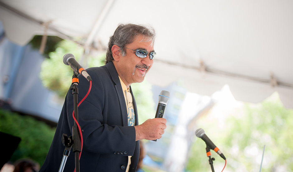 Khosla helped kick off the annual event by taking to the main stage at the front of Town Square and thanking staff for their important contributions to the campus' success.