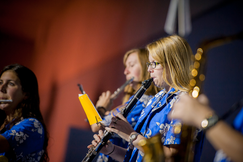 The UC San Diego Pepband performs during Triton Power Hour in RIMAC Arena.