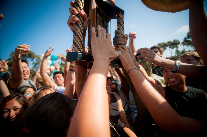 Sixth College holds up the coveted Golden Shoe in jubilation upon winning the 30th Annual UnOlympics.