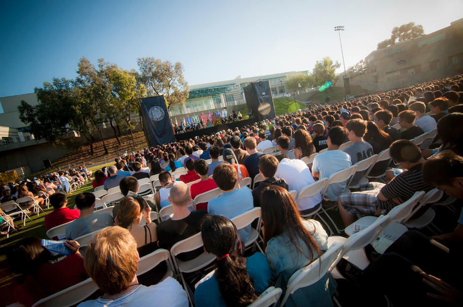 Thousands of 1st year and transfer students were present to listen and participate in the Welcome Convocation on RIMAC Field.