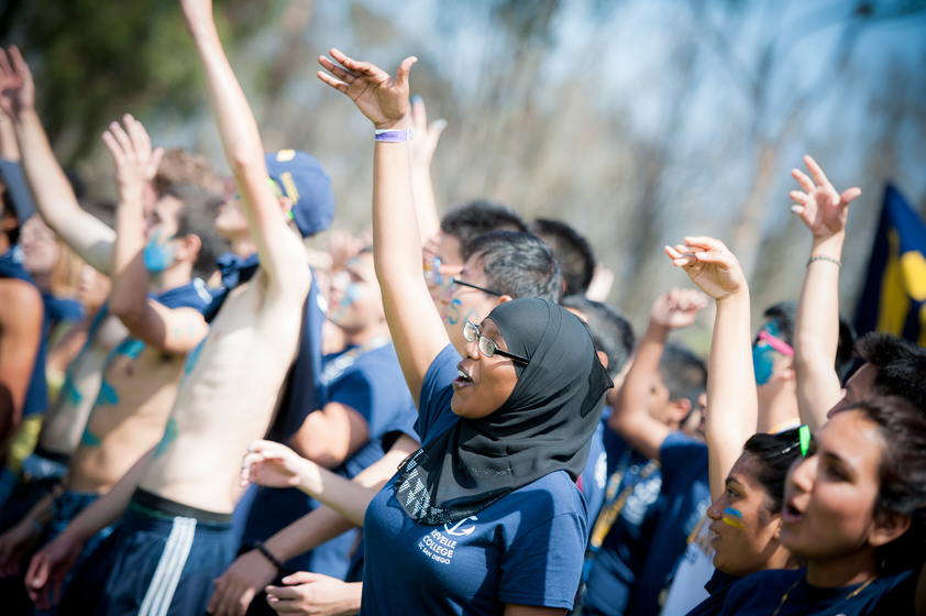 Revelle College cheers for their team during the 30th Annual UnOlympics.