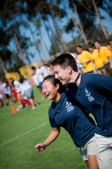 Revelle Freshmen race down the field during the obstacle course relay at the 30th Annual UnOlympics.