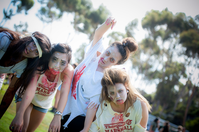 Zombie themed Marshall College students pose for photos at the 30th Annual UnOlympics.