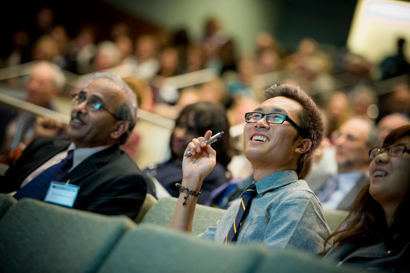 The audience was encouraged to interact on Twitter (#UCSDFounders) during the event.