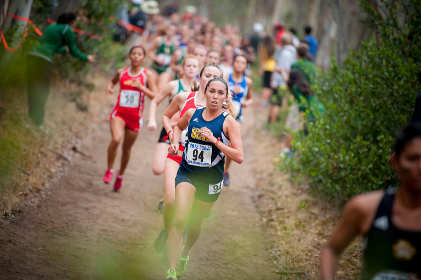 Sophomore Alia Bales competes in the 2012 CCAA Cross Country Championships.