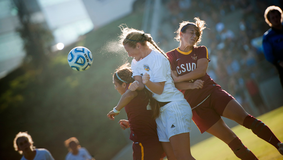 Junior Rachel Leslie fights for possession against league opponent Cal State Dominguez Hills at Triton Soccer Stadium. This year UC San Diego won the NCAA sub-regional on their home turf.