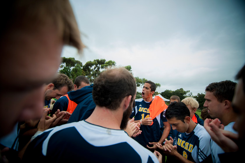 UC San Diego gets pumped up for the match against Chico State on Senior Day at Triton Soccer Stadium.  Men's soccer narrowly missed making the post-season.