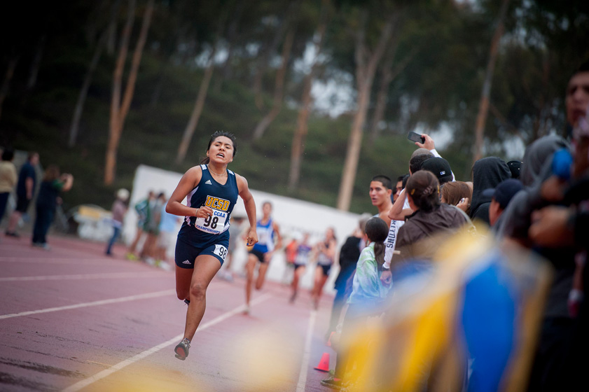 Junior Ximena Cruz races toward the finish at the 2012 CCAA Cross Country Championships hosted by UC San Diego.