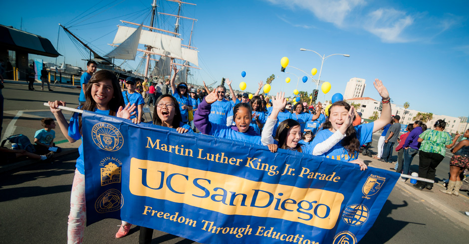 "Embracing the theme ""Freedom through Education,"" hundreds of members of the UC San Diego community participated in San Diego's 33rd annual Martin Luther King Jr. Parade Sunday. <br><br>Photos by Erik Jepsen/UC San Diego Publications"