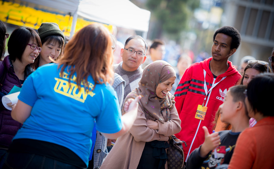 Admitted students and their families took guided tours of UC San Diego's residence halls and apartments.