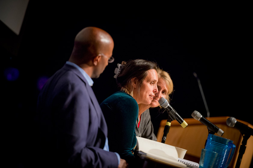 On Earth Day Winona LaDuke, center, and Van Jones discussed redefining sustainability as a movement that addresses both environmental destruction and social inequality.