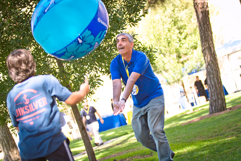Beach balls and inflatable obstacle courses provided a fun diversion for families during Family Fest held in Town Square.