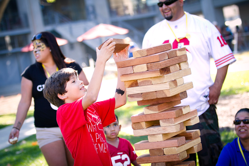 Jenga matches were held with oversized blocks throughout the day—reaching higher and higher, the towers tilted with each player's move.