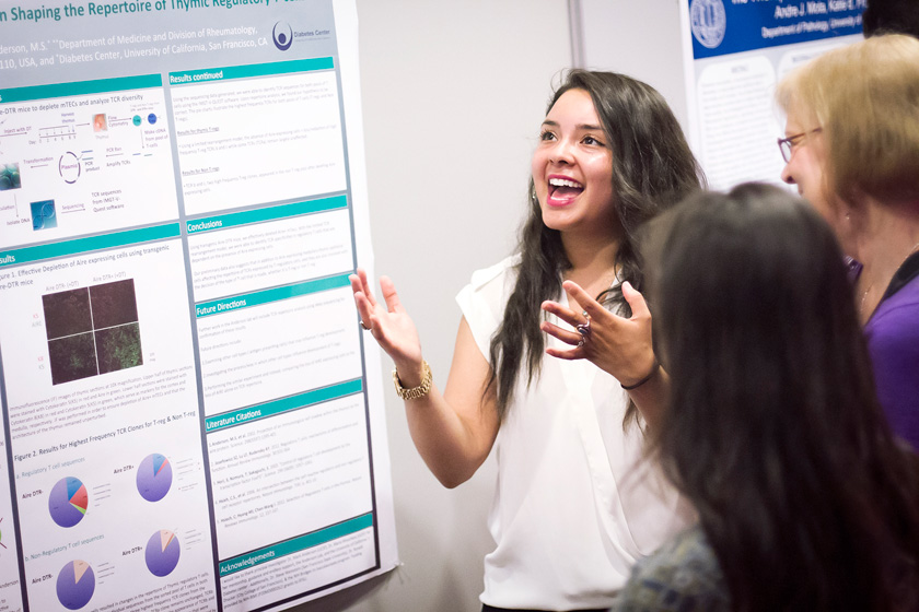 Undergraduate students had the opportunity to showcase their current research projects to visiting families during two poster sessions in Price Center East ballroom.