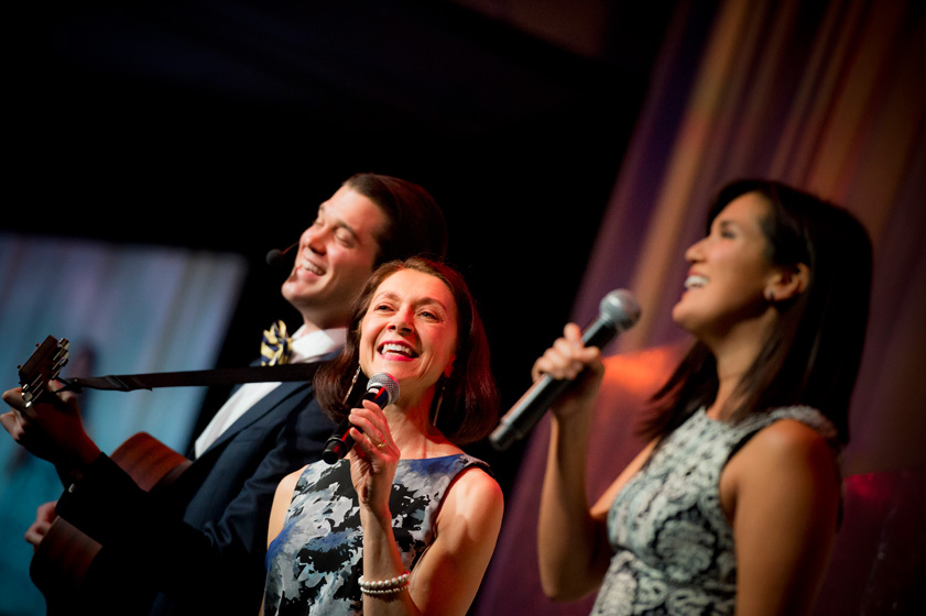 In a surprise finale, UC San Diego theatre and dance alumni Matt MacNelly and Zoe Chao, along with theatre and dance professor and alumna Eva Barnes, serenaded the medalists with an original piece that thanked each for their inspirational commitment and vision.