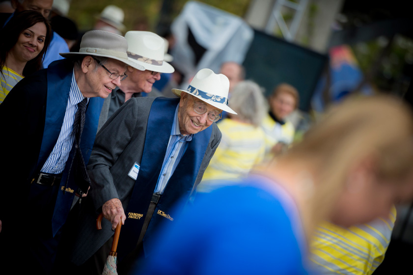 Founding faculty donned beach hats in preparation for the 1960s beach-themed festival that followed Chancellor Khosla's welcome and a historic look back at our campus's achievements.