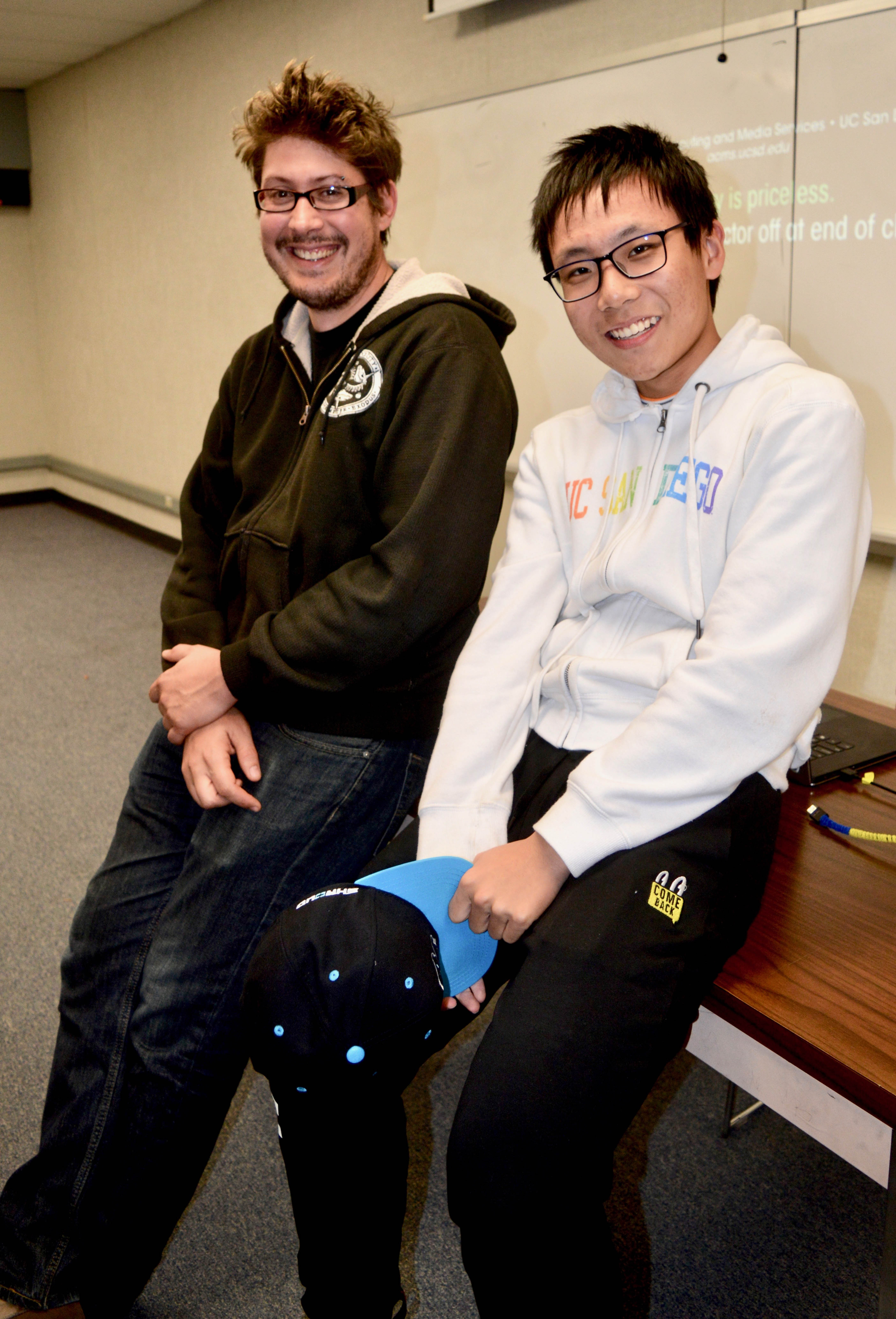 Freshman Yuan Gao stands at right. He is a Data Science major at UC San Diego, in class with instructor Colin Jemmott, who helped him create his first cloud.