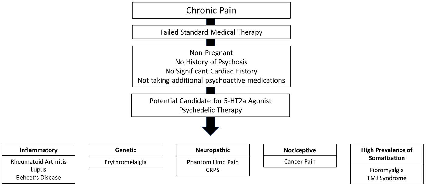 screening process for study of psychedelics. Chronic pain, failed standard medical therapy, no risk of complications