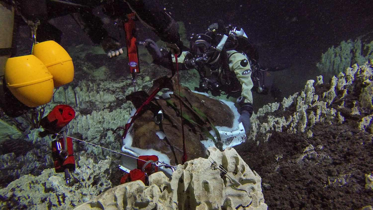 divers lift pelvis from the cave floor