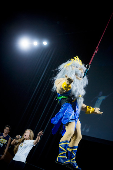 King Triton rappels down RIMAC Arena for Triton Power Hour.