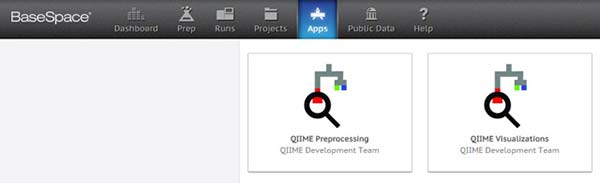 Image: Screenshot of QIIME available in Illumina's BaseSpace app store.